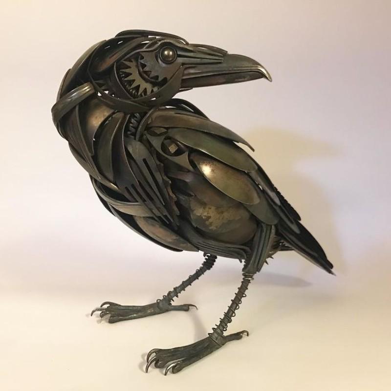 metal sculptures Old Cutlery Gets Transformed into Amazing Metal Sculptures Matt Wilson sculptures 2