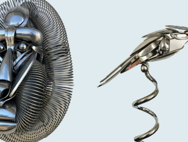 metal sculptures Old Cutlery Gets Transformed into Amazing Metal Sculptures feature image 7 740x560