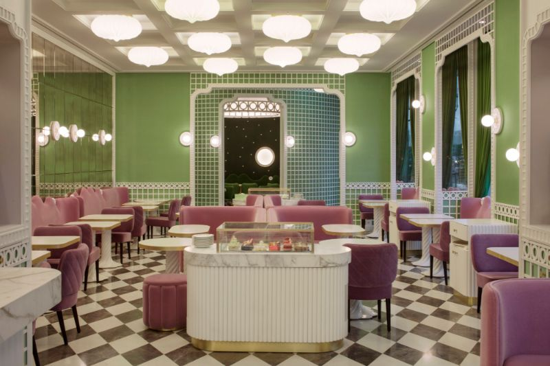 India Mahdavi's Rainbow-Bright Hued Restaurant Designs india mahdavi India Mahdavi's Rainbow-Bright Hued Restaurant Designs Mahdavis Most Flamboyant and Artsy Restaurant Design 15